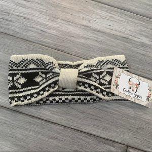 Fair Isle Sweater Knit Knotted Headband New